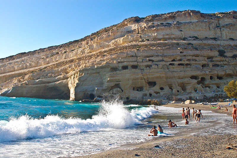 Matala beach, View of Hippie's caves
