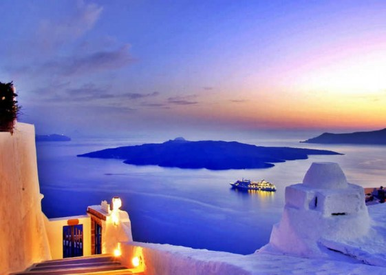 View of Volcano at Santorini, Greece
