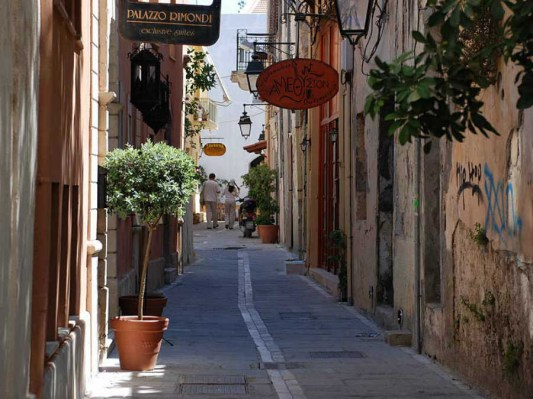 Beautiful small alleys in Rethymnon, Crete