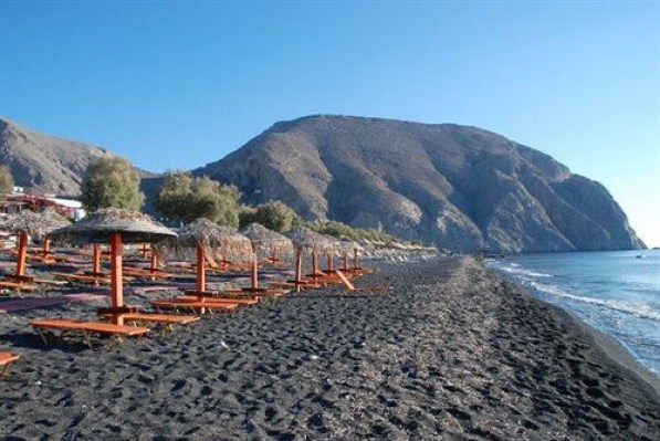 Perissa, black sand beach